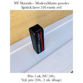 NY Shiseido - ModernMattte powder lipstick farve 516 exotic red   Pris: 1 stk. NU 100,- Vejl. pris: 250,- (1 stk. tilbage)   Se også over 200 andre nye produkter, som jeg har til salg herinde :-)