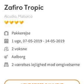 Rejse Aalborg-Mallorca t/r fra den 7-14 maj. Værdi 8000,- Sælges til 6000,- Skriv gerne for mere info.