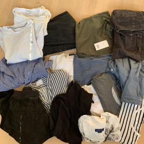 Sælger en bunke tøj.  Bunken indeholder: 4 x T-shirts 3 x langærmede trøjer 2 x højhalsede trøjer 2 x kortærmede skjorter 2 x langærmede skjorter 2 x jeans 1 x jakke  Mærker fra: Samsøe & Samsøe, Levi's, Tommy Hilfiger, COLLUSION, guess, Zara, Dr. Denim, Ross river, Peter fitch og Esprit  Noget i bedre stand end andet  Min umiddelbare tanke er 400kr men byd gerne!☺️