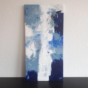 Akrylmaleri på lærred.  Måler 35 × 70 cm.  Hentes i Roskilde.