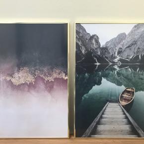 2 plakater i guldfarvede rammer str. 50x70. Prisen er for begge, men hvis du kun er interesseret i den ene, så send mig en besked.
