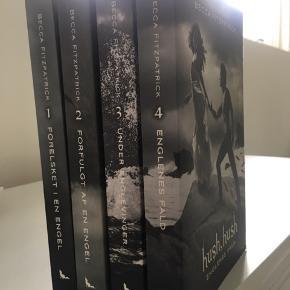 Hush hush bogserien af Becca Fitzpatrick. De er i super stand, kun læst en enkelt gang. Samlet pris 125kr