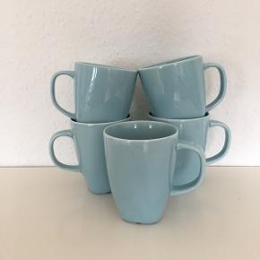 5 dejlige store kaffekrus kop tekrus lyseblå  Fin stand   Se det er mange andre annoncer blandt andet i lyseblå
