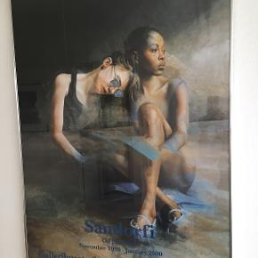 Indrammet plakat fra udstilling af István Sandórfis billeder i 1999 i Gallerihuset, Studiestræde, KBH. Mål 102 X 70,5 cm.