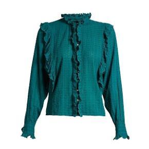 """Smuk bomuldsskjorte fra Isabel Marant Etoile, modellen hedder """"Yann"""", skjorten er brugt en gang et par timer og derfor har jeg sat den som aldrig brugt. Den er lille i størrelsen og passer til en dansk 38.  Respekter venligst at jeg ikke bytter og køber betaler  porto samt gebyr ved tspay."""