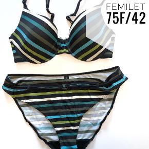 Varetype: Bikini Farve: Hvid,  Hvide,  Sort,  Sort Hvid,  Sorte,  Blå Oprindelig købspris: 400 kr.  Bikini str 75F og 42 fra femilet.  Kom gerne med bud - jeg er villig til at forhandle. Har også en del andre bikinier sv.t. samme størrelse.