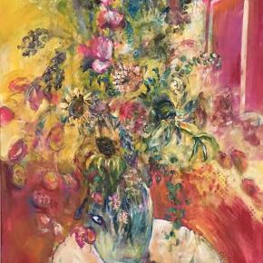 Et af mine  malerier. Titlen er Flower Power, M. Munch og det er acrylmaleri på lærred str.90x120. Var bare inde i en periode hvor det hele blomstrede og det satte sine aftryk i mine malerier. Har du lyst til at se mere af min kunst. Så er der min hjemmeside www.mettemunch-galleri.dk eller instagram @mettemunch.galleri . Maleriet skal afhentes i Maribo.
