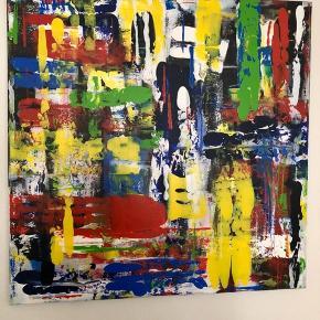 Akrylmaleri , abstrakt 100x100. Sort ramme kan tilføjes.