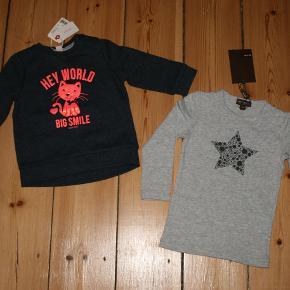 #Secondchancesummer  1. Esprit fleece t-shirt, trøje Meget meget sød trøje fra Esprit.  Aldrig brugt. Kun prøved 3 min. Vi har glemt den i skabet og den er blevet for lille...:(((  Str. 74 men passer godt 68-74 Stof: 60% bomuld, 40% polyester  Købspris 169 kr.  Pris 135 kr. + 37 kr. porto som DAO   2. Norlie helt ny t-shirt. Str. 74 Passer 68-74-80  Købs pris 180 kr.  Pris 80 kr. + porto   Sammen 2 st. er 220 kr. inkl. porto som DAO