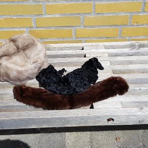 Minkstykker der kan bruges til tøj eller hårelastikker. Brun og Silver mink. Byd samlet