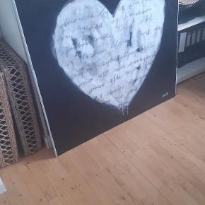 """Nyt værk """"slidt hjerte"""" Str. 100x100 cm. Akryl på lærred, tekst af kul."""