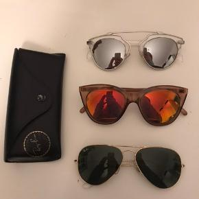 Sølv: 40 kr Orange: Le Specs, np er 500, pris er 180 Rayban: Np er 1000, pris er 500, case medfølger