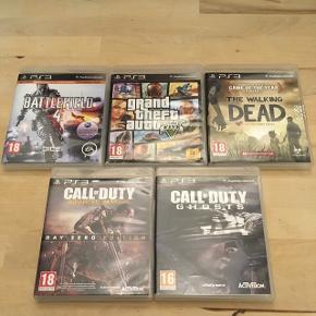 4 forskellige spil til PlayStation 3. Sælges samlet for en god pris. Sælges hver for sig, se de enkelte annoncer.  Call Of Duty (2 slags) Battlefield 4 Grand Theft Auto 5    PS 3, GTA