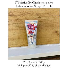 NY Active By Charlotte - active kids sun lotion 30 spf 150 ml.   Pris: 1 stk. NU 60,- Vejl. pris: 179,- (1 stk. tilbage)   Se også over 200 andre nye produkter, som jeg har til salg herinde :-)