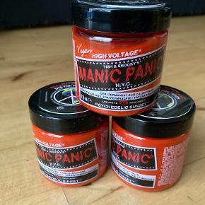 Sælger disse tre veganske hårfarver fra Manic Panic i farven Psychedelic Sunset. De er helt nye og uåbnede.