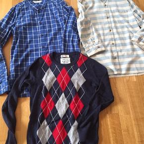Den lyseblå skjorte (fra Zara) er helt ny. De 2 andre er brugt et par gange og ser ud som nye. Prisen er for alle 3 dele