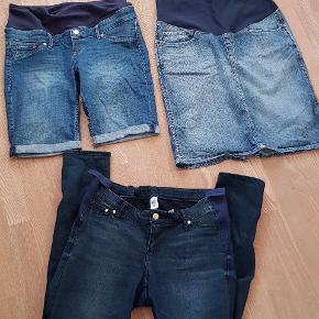 50kr pr stk plus fragt!   Alle 3 fra H&M.  Jeans med rib i siderne og dut til at justere bagpå (str.42) -  Shorts str. M  Nederdel str. M