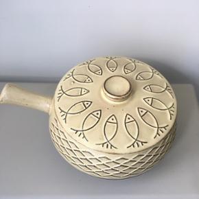 Sildekrukke med låg fra O.J Keramik