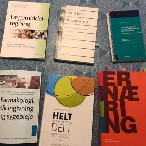 Jeg sælger mine sygeplejebøger. Der er lidt og en del overstregninger i nogen af bøgerne. Nogen er næsten ikke brugt.  BYD gerne.  Sælger dem til en fair og billig pris da andre lige så godt kan få glæde af dem ☺️