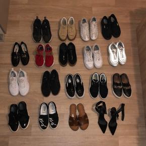 Hej! Jeg sælger ud af mine sko, da jeg jeg har alt for mange. Puma, Nike spiridon, Nike sockdart, pavement, billi bi, vans slip on, kenzo Paris slip on, Nike 97, Nike 95, Nike tekno, puma suede. BYD løs, og spørg gerne efter detaljer :) nogle sko er brugt mere end andre.