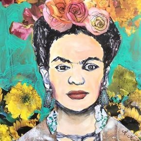 Så er Frida Kahlo endt som kunstplakat. Begrænset oplag. (40x60cm). Kan forkomme nogle millimeter større. Mixmedia lavet af Mette Munch. Hun er farverig og udtryksfuld. Den oprindelige original har jeg blandet tusch, acryl og collage. Jeg sender gerne