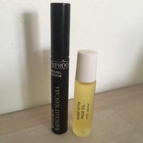Sandstone Raincoat Mascara Rose otto Face Oil  To ubrugte produkter fra en Goodiebox. Samlet pris