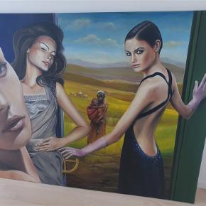 """Originalt maleri fra Marcus Stolk f. 1964. Olie på lærred """"About This Perfect World""""  120 / 150 cm  Ny pris 12.000kr.  Bud er velkomne."""