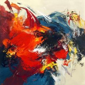 """Maria Kragh maleri - 60 x 60 Købt hos Midtjyllands Kunstcenter  Værket hedder """"Just for you III"""""""