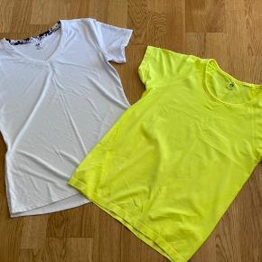 2 stk sports  T - shirts  1 hvid med v hals -  1 gul med rund hals  Str L  Aldrig brugt  Mp 125 pp