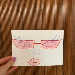 Sassy plakat / maleri af kvindeansigt med solbriller  og fregne🌸   Skriv endelig hvis du ønsker at få malet noget bestemt✨