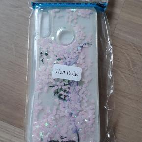 Nyt silikone cover til Honor 10 lite med flydende glimmer samt beskyttelsesglas. Fejlkøb.