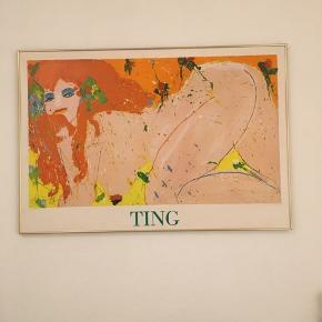 Smuk plakat af Walasse Ting trykt på plade og med tilhørende ramme. Billedet har et par mindre skrammer, som man ikke kan se.  Billedet måler 82 x 120