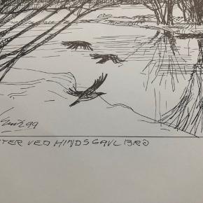 """Tegning/grafik af Erik Holbech Mortensen """"Vinter ved Hindsgavl bro"""" 1999  Størrelse: 30x40 cm.   Enkelte håndteringsspor.   Sender gerne 👀"""