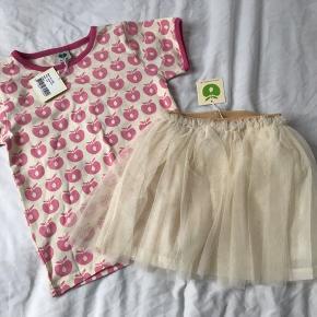 Ny t-shirt med æbler og ny nederdel, str 98-104 - stadig med mærke.   Mp t-shirt 100pp Mp nederdel 125pp