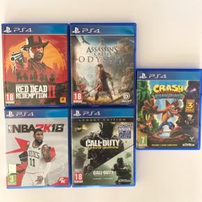 Diverse PlayStation 4 spil: Red Dead Redemption 2 - 200,- Assassin's Creed Odyssey - 150,- Crash Bandicoot N-Sane Trilogy - 150,- NBA2k18 - 50,- Call Of Duty Infinite Warfare - 50,-