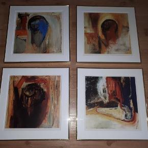 4 litografier købt i Fjeldgaards Kunsthandel. Med guldrammer. 48 x 48 cm. Sælges samlet for 350 kr.
