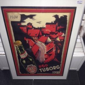 Rød Tuborg plakat i glas og ramme. 81 x 61 cm.