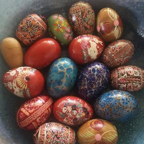 Retro træ æg. 17 stk. Sælges kun samlet
