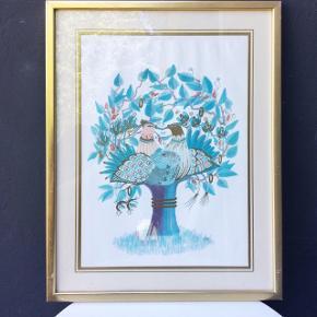 """Smukt Westh litografi i guld, blå, pink og lilla nuancer i patineret guldramme. Fra serien """"De 4 Årstider"""" - motivet forestiller to turdelduer i et træ og illustrerer vintersæsonen. Rammen måler 46x36 cm. Sælges med ramme.  Haves også i en anden udgave (Vinter)  Kan afhentes i Horsens el. vi kan mødes i Aarhus 😊"""