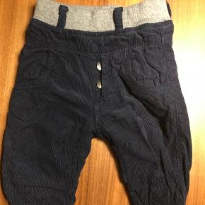 Et par lære navy bukser i 100% bomuld i mærket Hust & Claire. Kun brugt et par gange så er næsten som nye.Røgfrit hjem uden husdyr. Kun vasket i allergi og parfumefrit vaskemiddel.  Bukser Farve: Blå Oprindelig købspris: 250 kr.