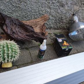 Tilbehørtil Terrarium   2 store Mopani trærodder.   1 stor Reflektor Sæt med næsten ny varmepære.   1 stor pynte kaktus  1 ny varmepære .  akvastabil armatur med uv lampe passer til et terrarium på 100 cm.   Samlet pris 400, eller byd på hver enkelt.