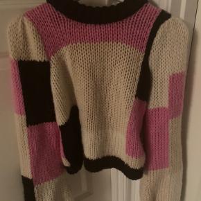 Ganni hand knit wool striktrøje i str xs