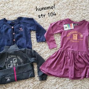 Tøj pakke Hummel. Str 104 Helt nyt kjolen + 2 brugt cardigan . Samlet pris 220