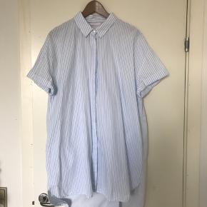 Fin, stribet skjortekjole fra Zara med lyseblå detalje på ryggen. Købt i Athen og fejler ingenting.