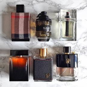 Sælger parfumeprøver/decants fra egen samling, som påfyldes 5 ml eller 10 ml glas-atomizer. Prøverne afsendes i boblekuvert, med PostNord fra 10,- ekstra.  Prisliste pr. 5 ml/10 ml:  - Al Haramain L'Aventure = 30/54 kr - Burberry London For Men = 30/54 kr - Calvin Klein CK One Shock = 20/36 kr - Carolina Herrera CH Men = 40/72 kr - Carolina Herrera CH Men Privé = 40/72 kr - Dior Homme Sport 2008 = 70/126 kr - Dolce & Gabbana The One EDP = 50/90 kr - Guerlain L'Homme Ideal Cologne = 40/72 kr - Kenzo Homme Night = 40/72 kr - Prada Luna Rossa = 40/72 kr - Viktor & Rolf Spicebomb = 80/144 kr (Vintage 2012 1. formulation.)
