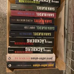 10 forskellige krimier fra Jussi Adler-Olsen, Sara Blædel og Camilla Läckberg.   Sælges samlet for 150kr.    Skal hentes på min adresse på Nørrebro