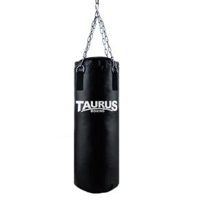 A new and never used set of punching bag + boxing gloves (2 pairs) + 2 elastic handwraps + groin guard  Price of the set from new = 3.141 DKK  1. The Taurus Punching Bag (including chains and ceiling fixation) 2. KnockOutSports Boksning Elastic Handwrap x2 3. KnockOutSports boxing gloves 2 pairs: size 10-OZ and 12-OZ 4. Twins Special metal-leather Groin guard  The Taurus Punching Bag made of very hard-wearing, special synthetic material and of renowned, super Taurus quality, filled with shredded textiles, which ensures tremendous impact absorption and makes the punching bag return to its original shape. * Ideal for all types of martial arts. * Suitable for beginners, leisure sports * Possible uses: kick and punch training of all martial arts, workout and fitness boxing * Material: bizonyl * Height: 100 cm * Diameter: 35 cm * Weight: ca 28 kg * Filled with shredded textiles * Chain (4 strand) and mounting included
