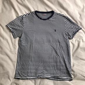 Ralph lauren t-shirt i hvid og navy striber.
