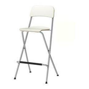 4 hvide sammenklappelige barstole med sølvfarvet metalstel fra Ikea af modellen Franklin. Siddehøjden er 74 cm. De er brugt ganske lidt og er i meget fin stand. Der er således kun ganske få brugsspor. Sælges pga. flytning. Afhentes i København SV. Sender ikke. Købspris var 245 kr. pr. stk. De 4 barstole sælges samlet for 400 kr. Jeg bytter ikke.