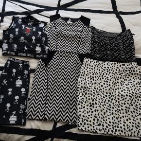 """Forskellige sort/hvid tøj sælges, 🖤🖤🖤 🌼🌼🌼 Criminal Damage """"Peanuts"""" sæt, bestående af 2 stk. Leggins og en top (ubrugt) str. M,  165 kr. - samlet  Zig zag mønstret kjole fra H&M, (ubrugt) str. 42, 65 kr. -  Kort bluse fra Only, str. M (god men brugt)  31 kr. -  Taljenederdel fra H&M med """"dalmatiner eller Leo print"""" (ubrugt) str. 42 40 kr. - 🖤🌼🌼🖤🌼🌼🖤🌼🌼🖤 Se mine annoncer hvor hvert enkelte ting er til salg med porto pris og køb ju funktion  👈"""
